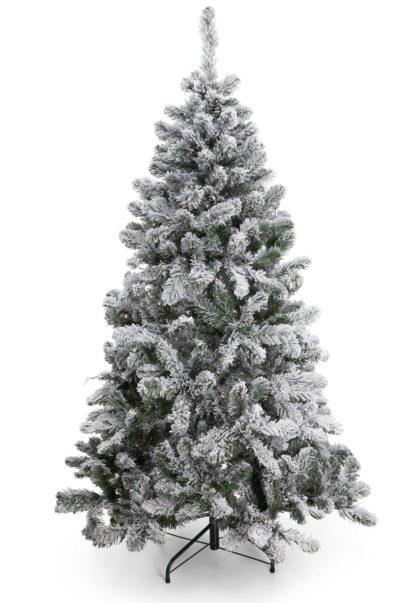 Flock kunstkerstboom sneeuw met led verlichting