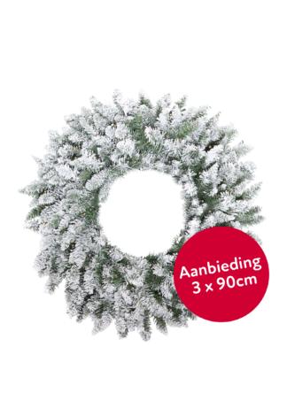 3x Besneeuwde kerstkrans met led verlichting 90 cm