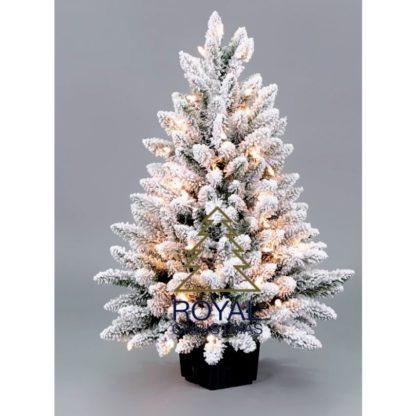 Besneeuwde kunstkerstboom in pot LED